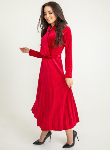 Foremia Piliseli Ceket Yaka Kadife Elbise Kırmızı